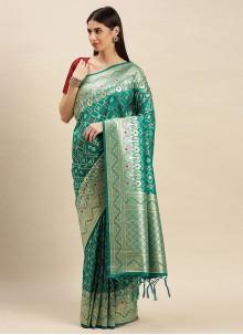 Banarasi Silk Traditional Saree in Sea Green
