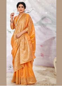 Banarasi Silk Traditional Saree in Yellow