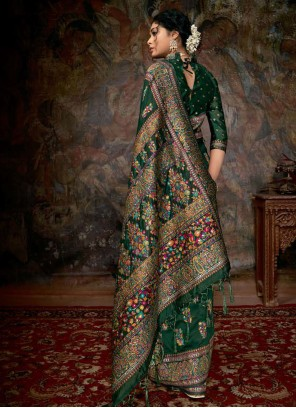 Banarasi Silk Trendy Green Saree