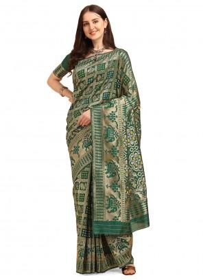 Green Banarasi Silk Trendy Saree