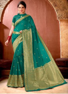 Banarasi Silk Trendy Saree in Sea Green