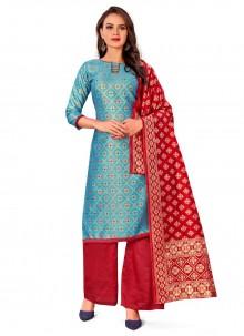 Banarasi Silk Turquoise Jacquard Work Designer Palazzo Salwar Kameez