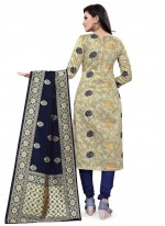 Banarasi Silk Weaving Beige Designer Straight Suit