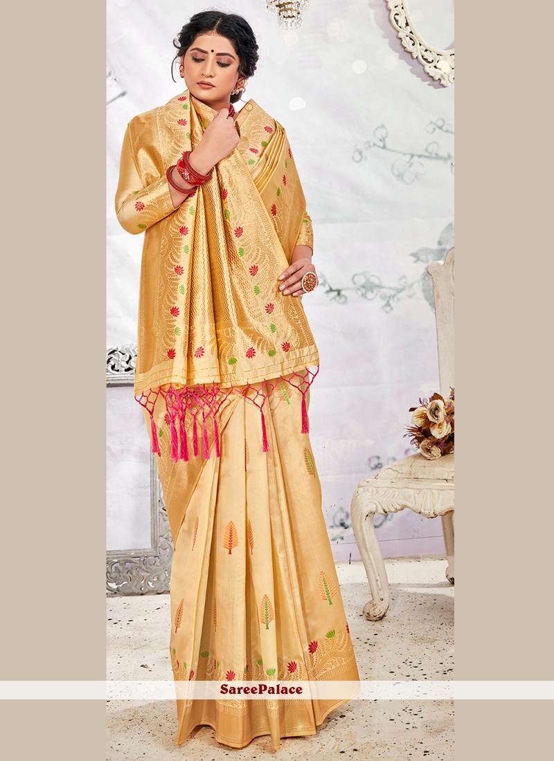 Banarasi Silk Weaving Beige Traditional Saree