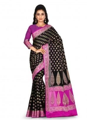 Banarasi Silk Weaving Black Bollywood Saree