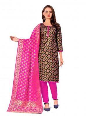 Banarasi Silk Weaving Black Pant Style Suit