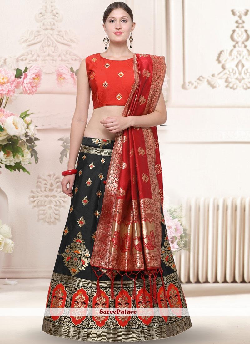 Banarasi Silk Weaving Black Trendy Lehenga Choli