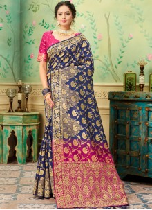 Banarasi Silk Weaving Blue and Pink Traditional Saree