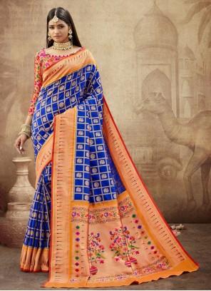 Banarasi Silk Weaving Blue Contemporary Saree