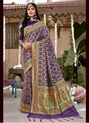 Banarasi Silk Weaving Blue Designer Saree