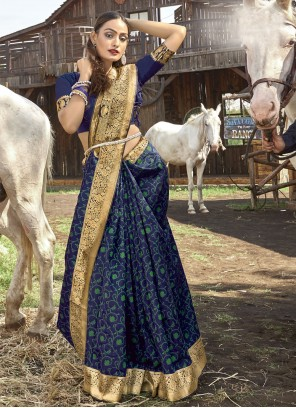Banarasi Silk Weaving Blue Designer Traditional Saree