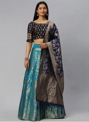 Banarasi Silk Weaving Blue Lehenga Choli