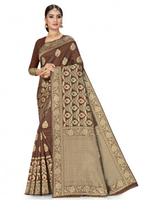 Banarasi Silk Weaving Brown Traditional Saree