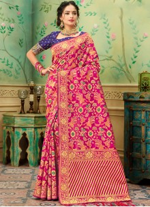 Banarasi Silk Weaving Casual Saree in Hot Pink
