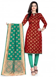 Banarasi Silk Maroon Weaving Churidar Suit