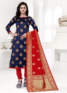 Banarasi Silk Weaving Churidar Suit in Blue
