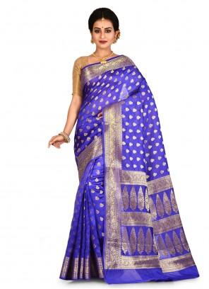 Banarasi Silk Weaving Blue Classic Saree