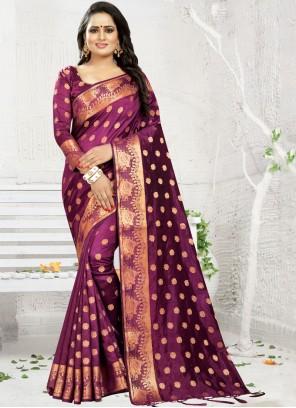 Banarasi Silk Weaving Classic Saree in Wine