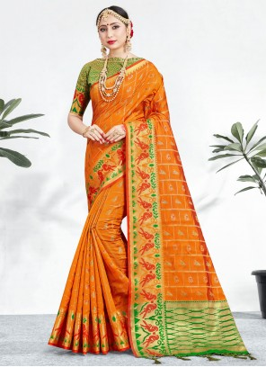 Banarasi Silk Weaving Contemporary Saree in Orange