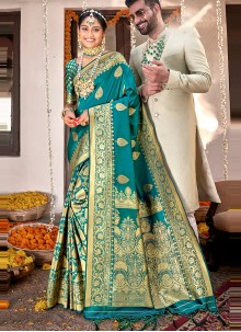 Rama Banarasi Silk Weaving Designer Saree