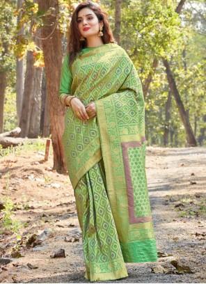 Banarasi Silk Weaving Designer Saree in Green
