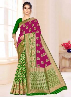 Banarasi Silk Weaving Designer Saree in Green and Magenta