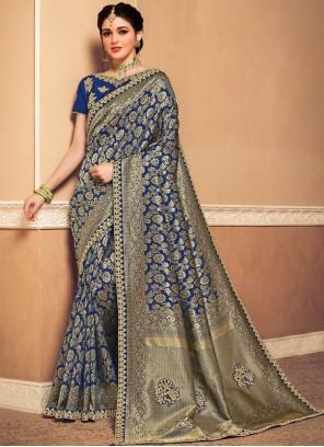 Banarasi Silk Weaving Designer Saree in Navy Blue