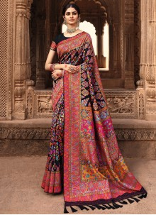 Black Banarasi Silk Weaving Work Traditional Saree