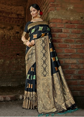 Banarasi Silk Weaving Designer Traditional Saree in Black