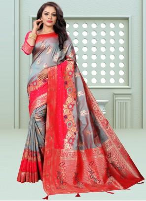 Banarasi Silk Weaving Designer Traditional Saree in Grey