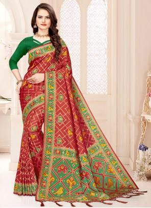 Banarasi Silk Weaving Designer Traditional Saree in Maroon