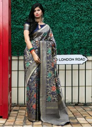 Banarasi Silk Weaving Designer Traditional Saree in Navy Blue