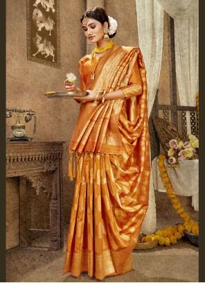 Banarasi Silk Weaving Designer Traditional Saree in Orange