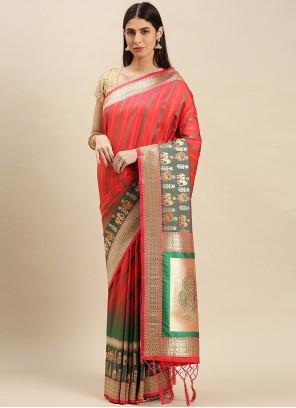 Banarasi Silk Weaving Designer Traditional Saree in Red