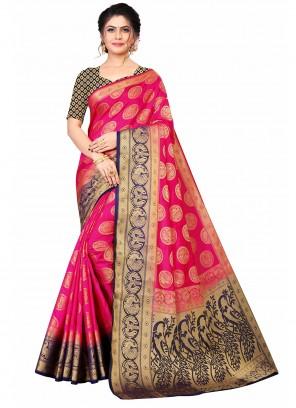 Banarasi Silk Weaving Fuchsia Designer Traditional Saree