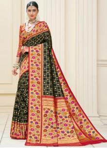 Banarasi Silk Weaving Green Classic Designer Saree
