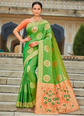 Banarasi Silk Weaving Green Contemporary Saree