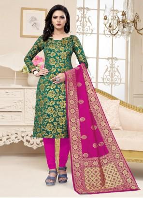 Banarasi Silk Weaving Green Designer Traditional Saree