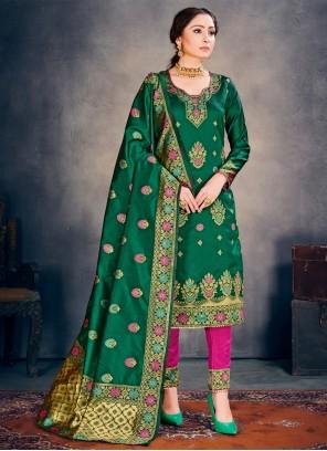 Banarasi Silk Weaving Green Pant Style Suit