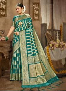 Banarasi Silk Weaving Green Traditional Designer Saree