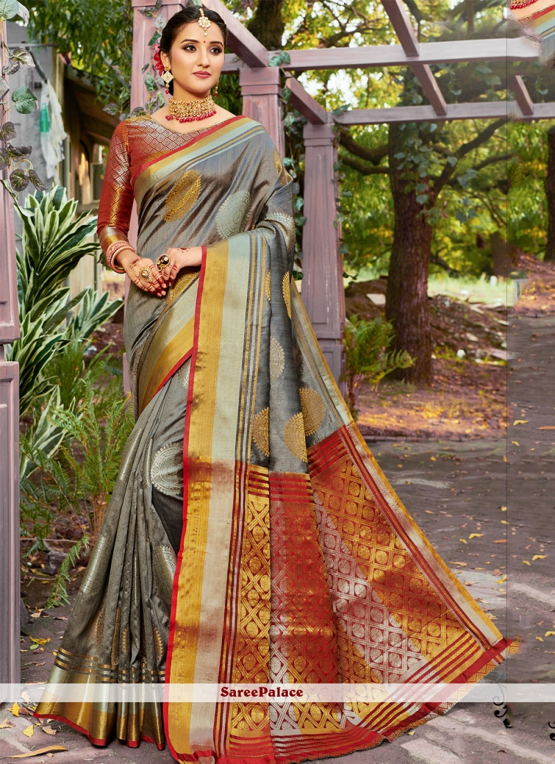 Banarasi Silk Weaving Grey Classic Saree