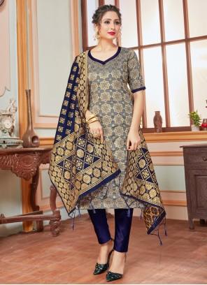 Banarasi Silk Weaving Grey Pant Style Suit
