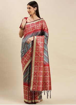 Banarasi Silk Weaving Grey Traditional Designer Saree