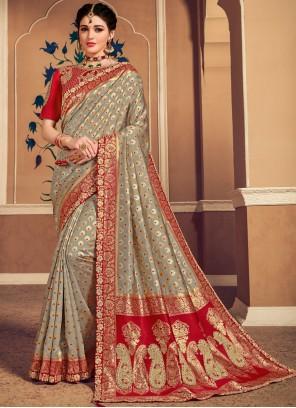 Banarasi Silk Weaving Grey Trendy Saree