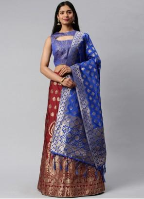 Maroon Banarasi Silk Weaving Lehenga Choli