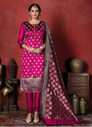 Banarasi Silk Weaving Magenta Salwar Suit