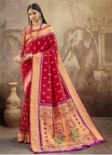 Banarasi Silk Weaving Maroon Designer Saree