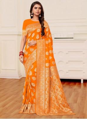Banarasi Silk Weaving Mustard and Orange Half N Half Designer Saree
