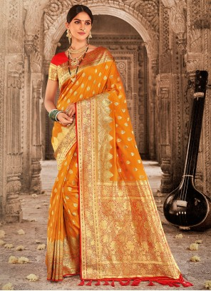 Banarasi Silk Weaving Mustard Traditional Designer Saree