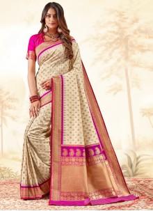 Banarasi Silk Weaving Off White Traditional Saree
